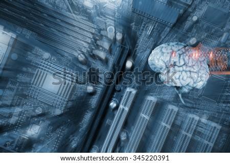 artificial intelligence, human brain, electronics and communication - stock photo