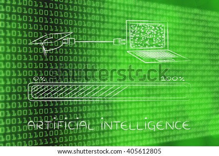 artificial intelligence; laptop and graduation cap connected by plug, with messy binary code being processed on the screen