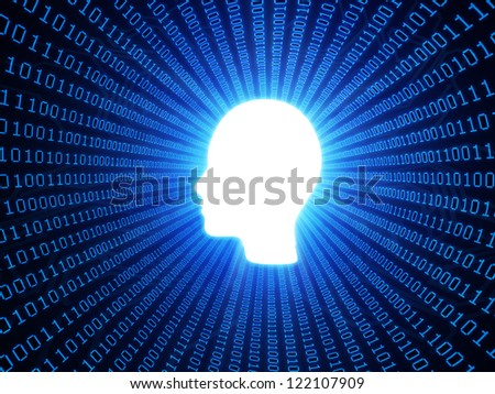 Artificial intelligence or personal data concept with binary background - stock photo