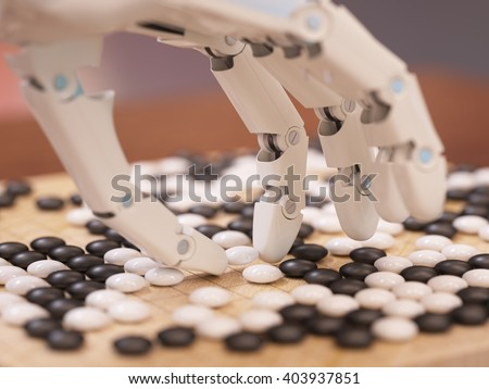 Artificial intelligence playing traditional board game Go concept 3D illustration - stock photo