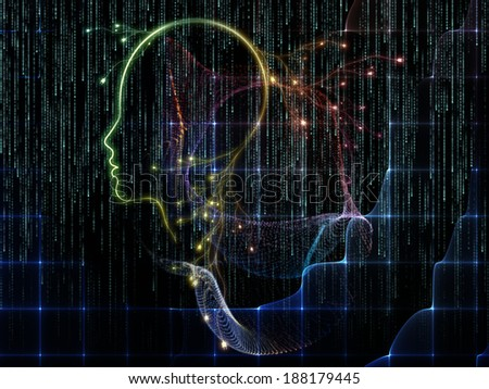Artificial Intelligence series. Arrangement of human profile and numbers on the subject of thinking, logic, computers and future technology - stock photo