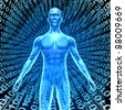 Artificial intelligence showing a human in Cyberspace with digital binary code background as high tech computing technology with a brain function like a talking robot in a smart phones and computers. - stock photo