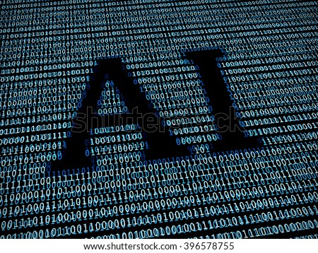 Artificial intelligence text in digital background - stock photo