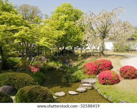 Artificial japanese garden - stock photo