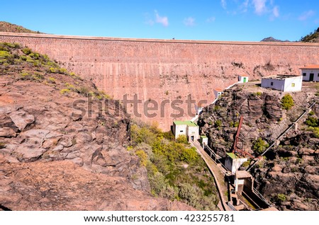Artificial Lake Water Dam in the Canary Islands Gran Canaria - stock photo