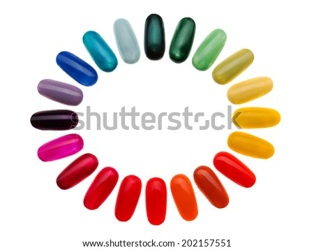 Artificial nails, also known as fake nails, false nails, fashion nails, nail enhancements, or nail extensions, are coverings placed over fingernails as fashion accessories. Isolate on white. - stock photo
