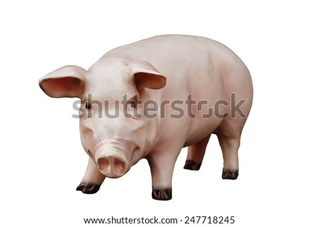 Artificial pig isolated on white background - stock photo