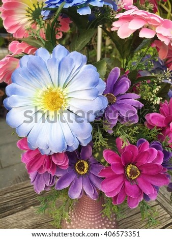 Artificial Pink blue and purple Chrysanthemum