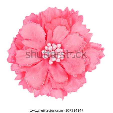 artificial pink Flower isolated on white background - stock photo