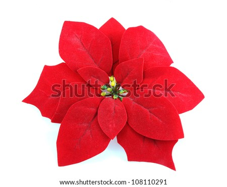 Artificial Poinsettia isolated on white background - stock photo