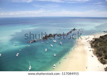 artificial reef moreton island queensland australia recreation water sports destination - stock photo
