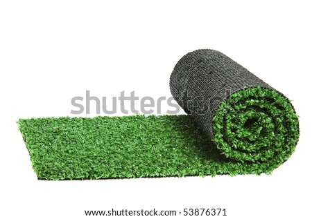 artificial rolled green grass, isolated on white background - stock photo
