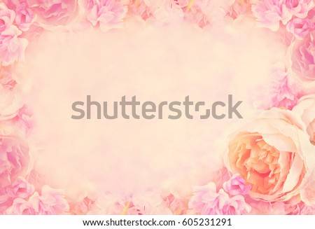Artificial rose and pink flowers frame, blooming flowers vintage background, pastel and soft card, selective focus, toned