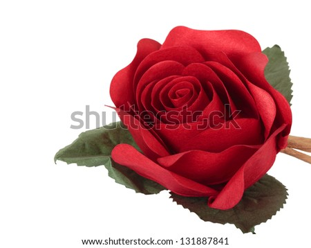 Artificial rose isolated on white - stock photo