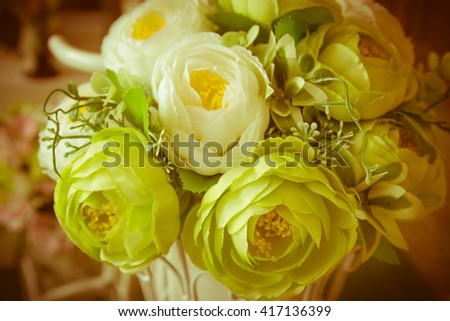 Artificial roses beautiful flowers with filter color effects ,Vintage - stock photo
