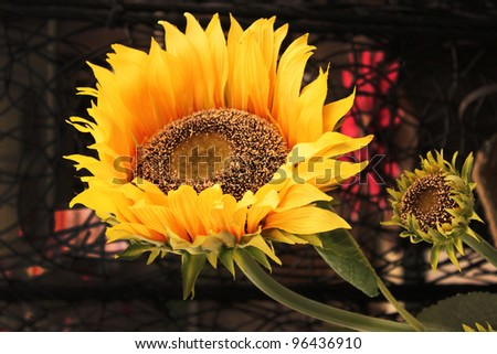 Artificial sunflowers - stock photo