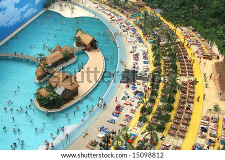 artificial tropical beach, view from above - stock photo