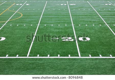 Artificial Turf and yard markers at School Football Stadium