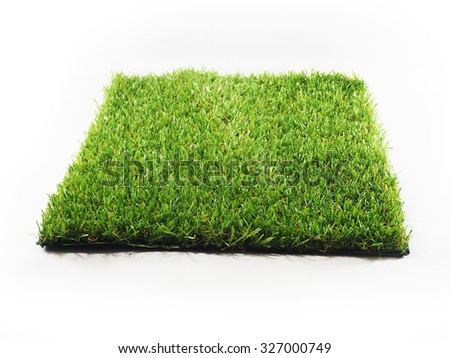 artificial turf tile on a white background - stock photo