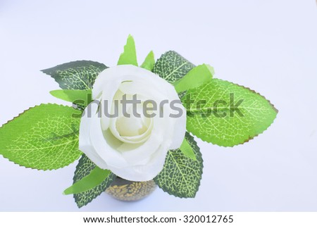 artificial white rose flower on white background - stock photo