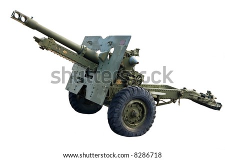 Artillery cannon, painted army green with a flat tire. - stock photo