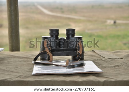 Artillery commander's position on the battlefield - stock photo