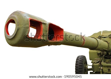 Artillery gun of the Second World War, isolated on a white background.