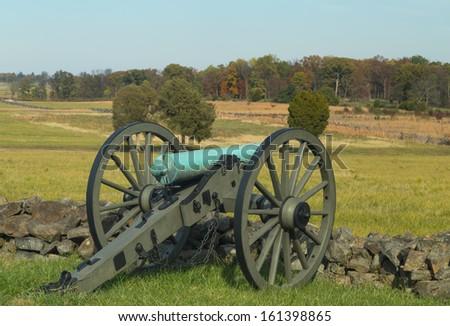 Artillery looking over Gettysburg field - stock photo