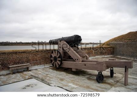 Artillery peice in historic Fort Jackson, Savannah, Georgia - stock photo