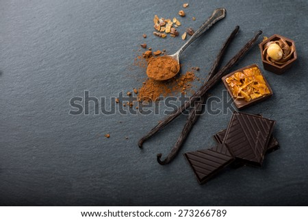 Artisan chocolate food background with copy space
