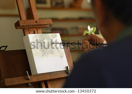 Artist at work - stock photo