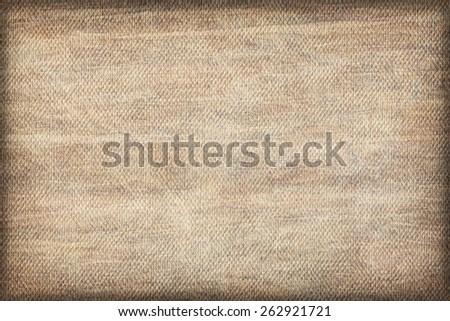 Artist Beige Primed Linen Duck Canvas, coarse grain, bleached, mottled, stained, vignette grunge texture. - stock photo