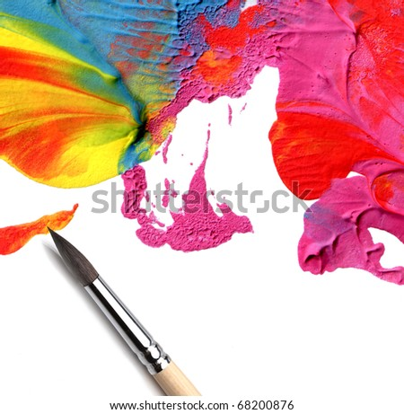 artist brush and abstract acrylic paint - stock photo