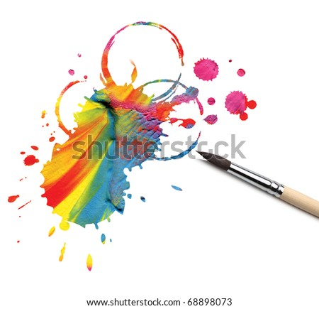 artist brush and abstract paint blot - stock photo