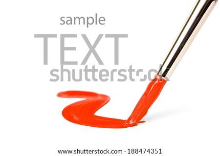 Artist brush and hand draw  - stock photo