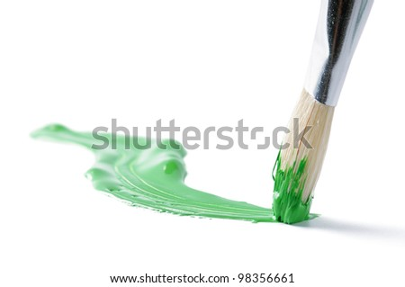 Artist brush and hand drawn green line - stock photo