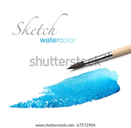 artist brush and paint scratch - stock photo