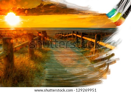 artist brush painting picture of beautiful sunset landscape - stock photo