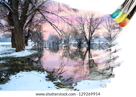 artist brush painting picture of beautiful winter landscape
