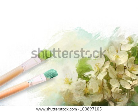 Artist brushes with a half finished painted canvas of flowers - stock photo