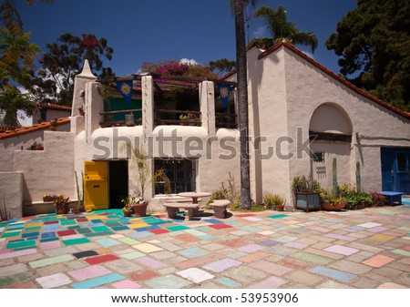 Artist colony, shops and workshops in Balboa Park in San Diego - stock photo