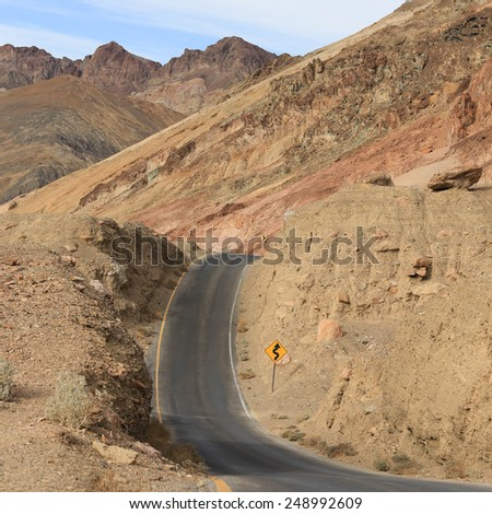 Artist Drive. Dip on curved road in heart of Death Valley