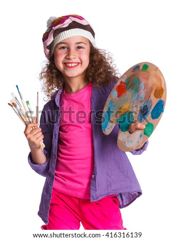 Artist girl at work. Isolated on the white background. - stock photo