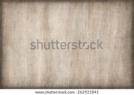 Artist Grayish Beige Primed Linen Duck Canvas, coarse grain, bleached, mottled, stained, vignette grunge texture. - stock photo