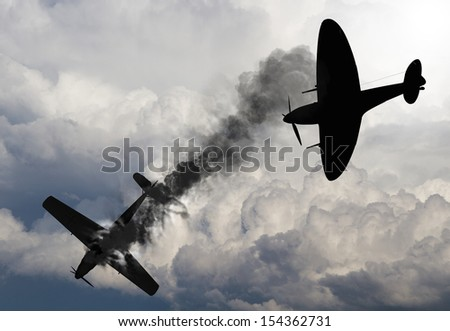 Artist impression of a scene from the battle of Britain that raged in 1940 during World War 2. British fighter shooting down a German fighter. - stock photo
