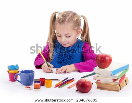 artist kid girl painting over white background  - stock photo