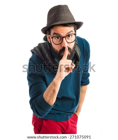 Artist making silence gesture  - stock photo