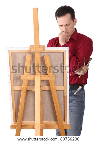 Artist Painter by the Easel thinking - Isolated - stock photo