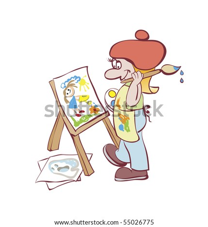 Artist painting at the easel. Cartoon - stock photo