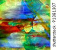 artist painting watercolor with bright brushstrokes and blotches - stock photo